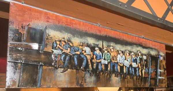 tableau art metal ouvriers au