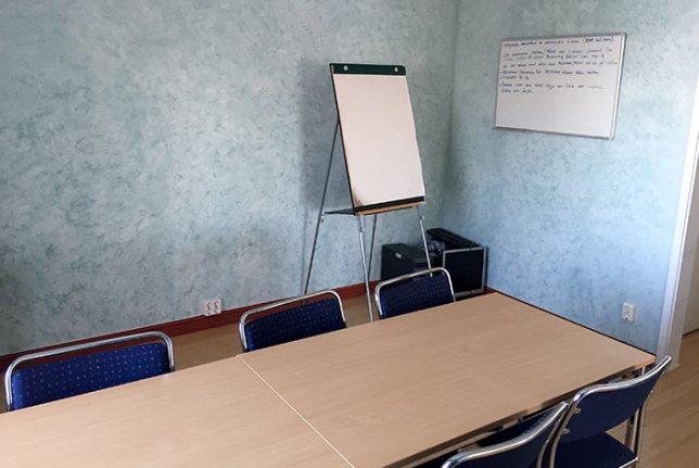 På övervåningen finns även ett konferansrum.