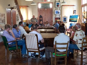 Friends of Hallettsville Downtown Revitalization meeting from September 2015. Hallettsville Mayor, Lavaca County Judge. Ex-Hallettville Mayor, City Manager, City Councilwoman, Lavaca County Judge, Hospital Administrator, all spoke and attended the first FHDR meeting in Sept. 2015.