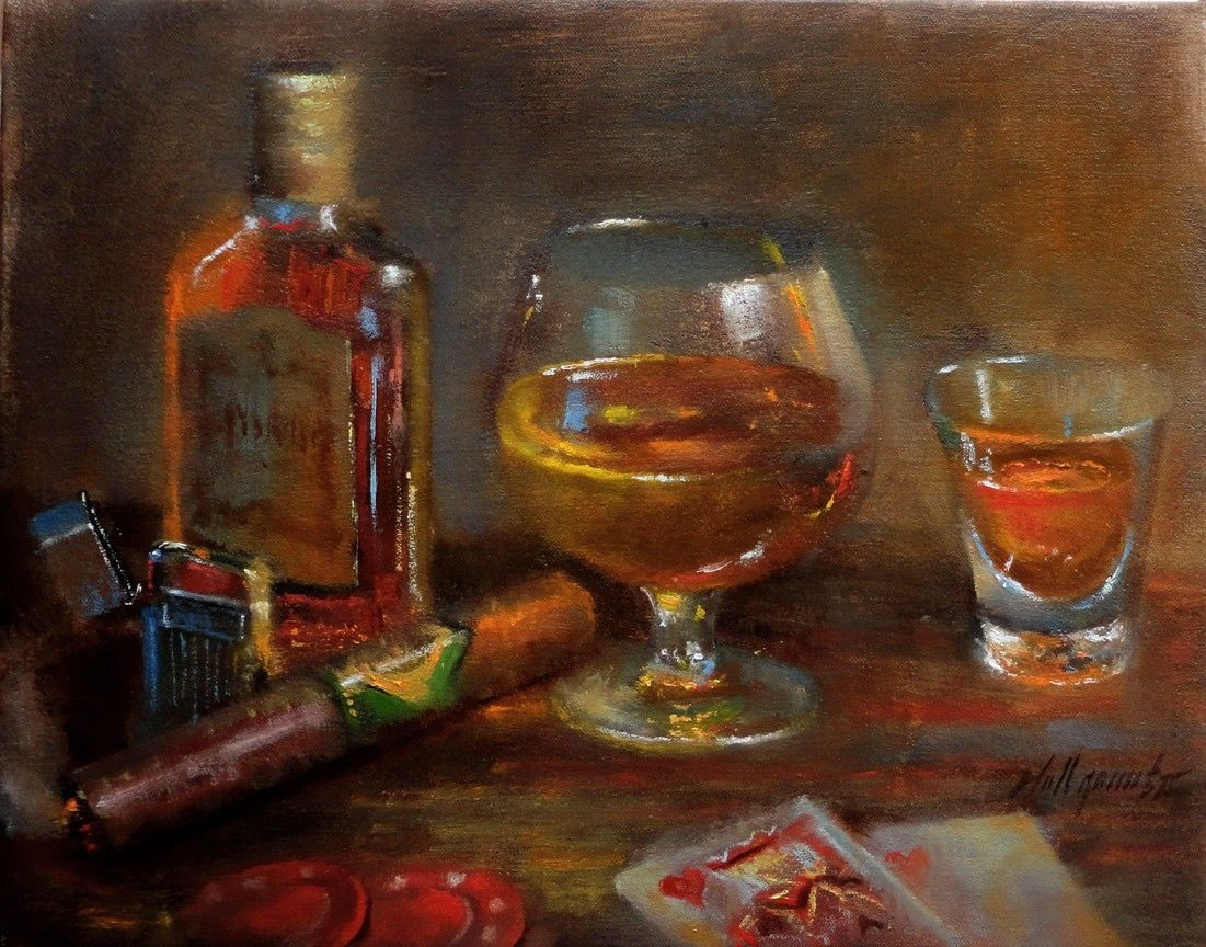 Cigar and whiskey paintings learn to oil paint dvd for Paint and wine raleigh