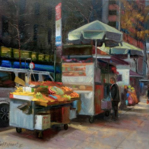 New York City Street Food Vendor Painting