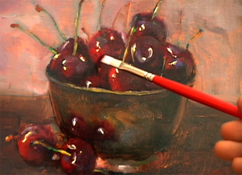 Video Oil Paint Lessons cherries