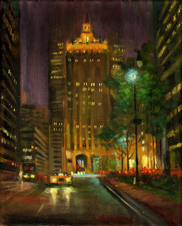 Park Avenue, NYC, Helmsley Building Night 10 x 8 in .Oil on canvas