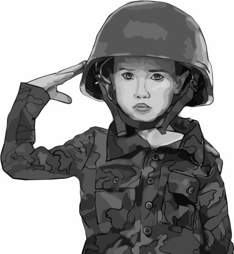 boy soldier black and white image traced