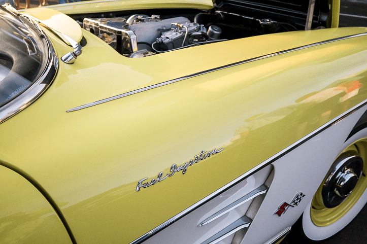 Shot of the 1957 Corvette and its fuel injection logo