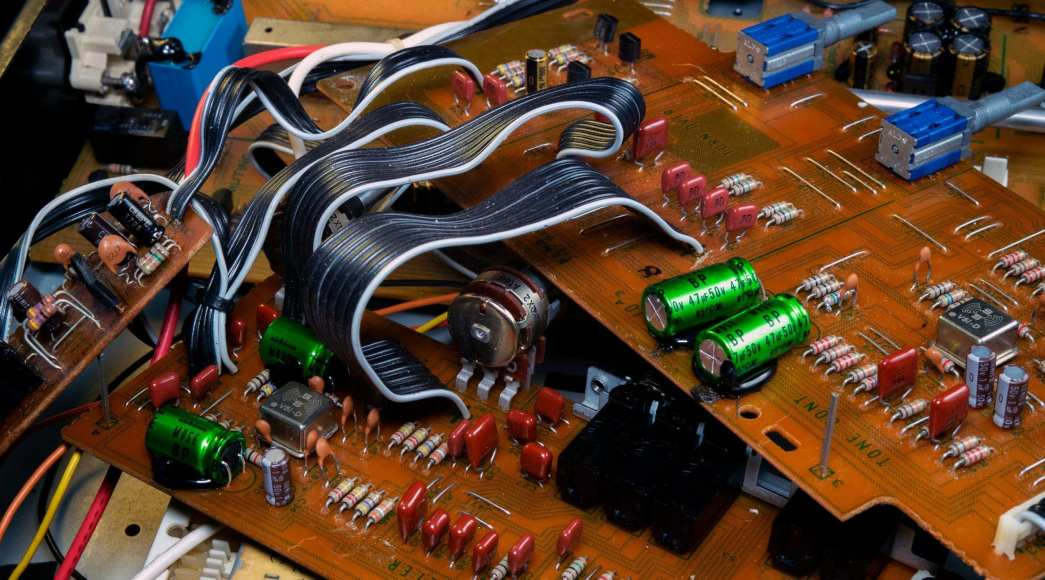Kenwood C-2 EQ boards after being restored with new capacitors and Burson Audio V5i op-amps