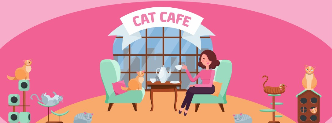Fb Cover Web Banner Social Media Design Welcome to cat cafe Template on white background.Cats sit on stylish chairs at cafe table, on cozy red soft chair. Flat cartoon illustration