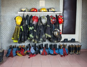 Firefighter Suits Arranged At Fire Station