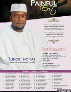 Tunde Thomas obituary