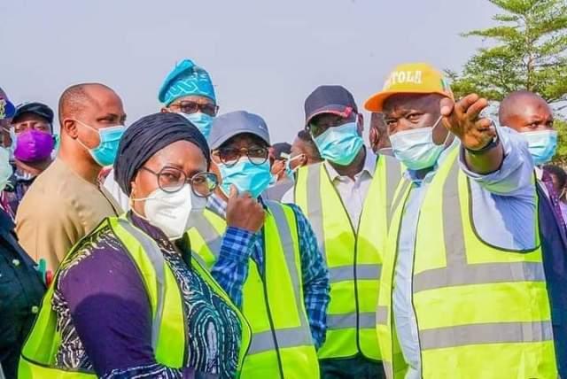 Gboyega Oyetola inspecting flyover