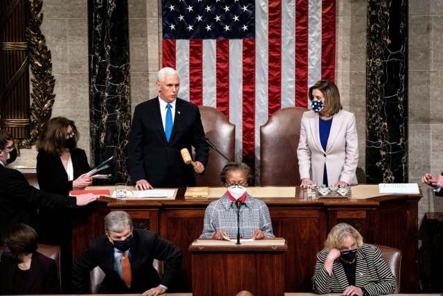 Vice President Mike Pence and House Speaker Nancy Pelosi presided over a joint session of Congress on Thursday to certify the 2020 Electoral College results.Credit...Erin Schaff/The New York Times