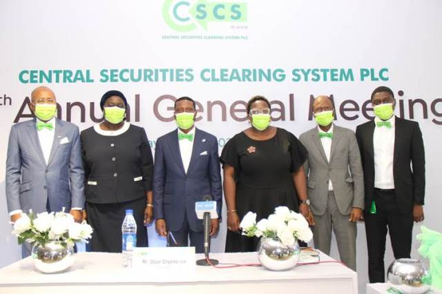 L-R: Mr. Haruna Jalo-Waziri, Managing Director/Chief Executive Officer, Central Securities Clearing System (CSCS) Plc; Mrs. Tairat Tijani, Non-Executive Director, CSCS; Mr. Oscar Onyema OON, Chairman, Board of Directors, CSCS; Ms. Tinuade Awe, Non-Executive Director, CSCS; Mr. Eric Idiahi, Non-Executive Director, CSCS; and Mr. Charles I. Ojo, Company Secretary, CSCS at the 27th Annual General Meeting of Central Securities Clearing System Plc held in Lagos on Tuesday