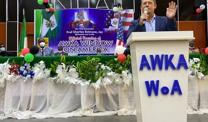 U.S. Consulate Public Affairs Officer Stephen Ibelli Delivering Remarks During the Opening of the Window on America in Awka on Tuesday.