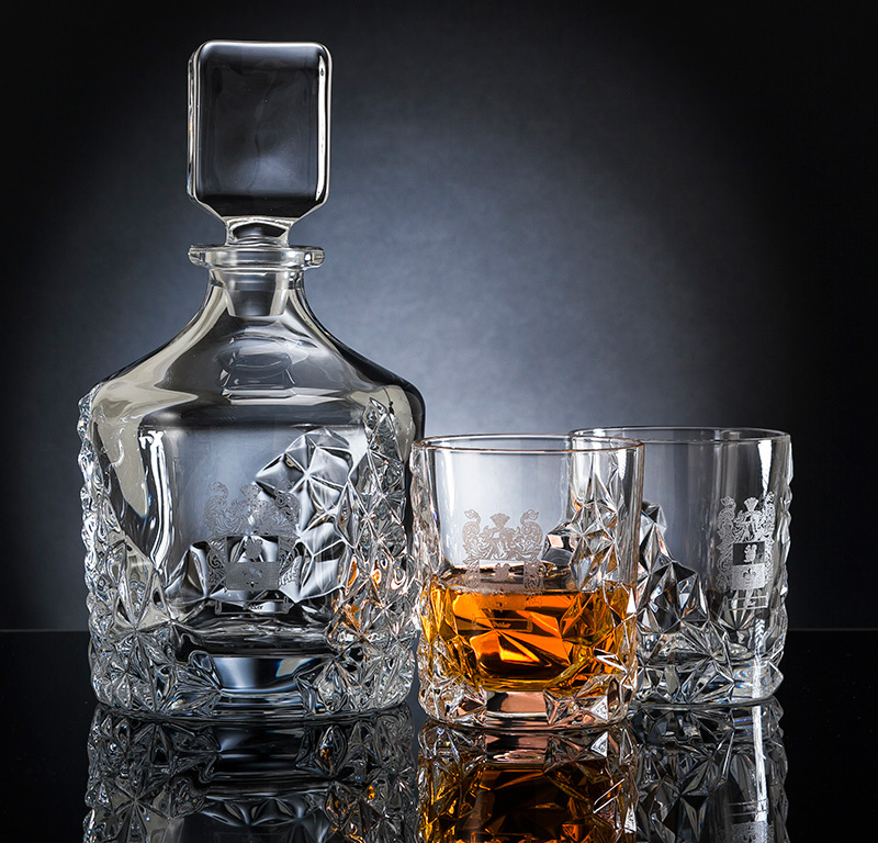 crystal whisky decanter set engraved with your family coat of arms - Whisky Decanter
