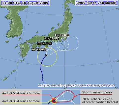 Aktuelle Position und voraussichtlicher Verlauf von Taifun Nr. 9