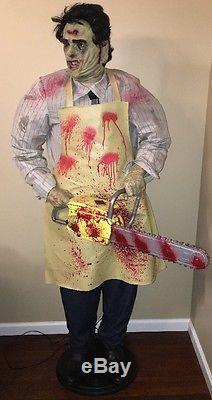 Rare Gemmy Life Size Animated Leatherface  Texas Chainsaw  Works  Over 6ft