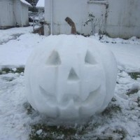 Snow Pumpkin...Carved It, Just Can't figure Out a Way to Light It...