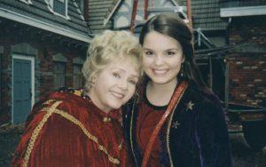Debbie Reynolds and Kimberly J. Brown on the set of 'Halloweentown'.