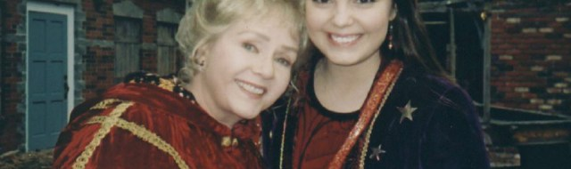 Debbie Reynolds and Kimberly J. Brown on the set of 'Halloweentown'.