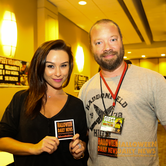 Danielle Harris with Halloween Daily News editor-in-chief Matt Artz.