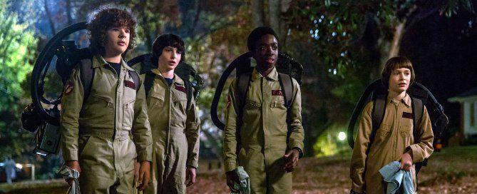 'Stranger Things' Season 2 stars Gaten Matarazzo as Dustin Henderson, Finn Wolfhard as Mike Wheeler, Caleb McLaughlin as Lucas Sinclair, and Noah Schnapp as Will Byers.