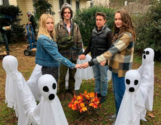 Ginny Gardner, Miles Robbins, David Gordon Green, and Andi Matichak on the set of 'Halloween' - shared by Miles Robbins, via Instagram