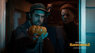 'The Spirit of Haddonfield' director Rene Rivas and Vincente DiSanti as The Shape. (Halloween Daily News Exclusive)