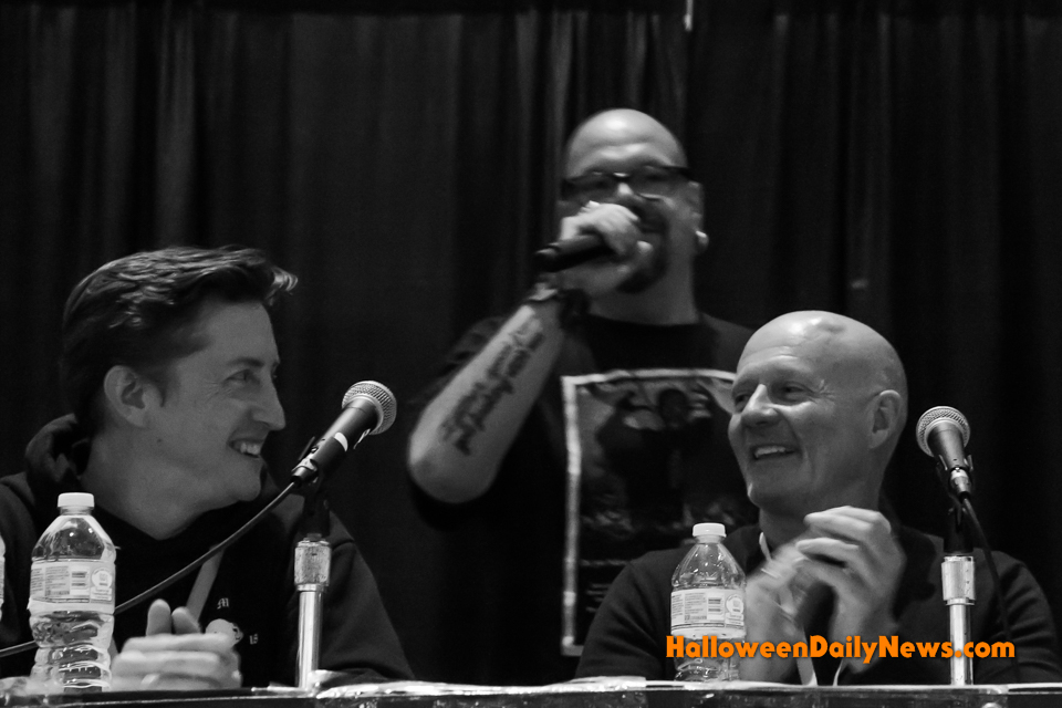 David Gordon Green and James Jude Courtney at the 'Halloween' 2018 panel, moderated by Steve Barton.