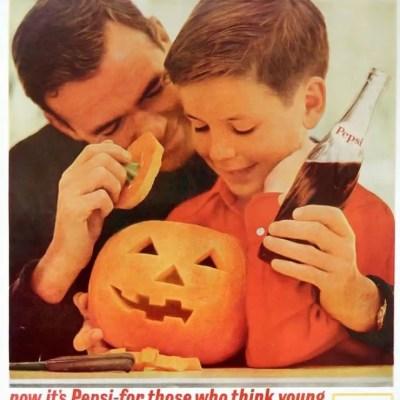 pepsi-cola classic Halloween ad, jack-o-lantern, pumpkin