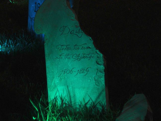 Evil Vines Cemetery Outdoor Yard Haunt Cracked Tombstone at Night