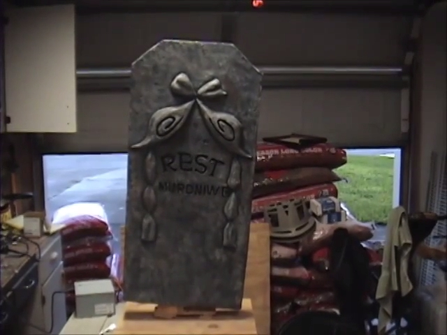 Moving Halloween Tombstone Prop Final Photo