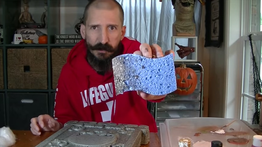 Upgrade Your Cheap Dollar Store Halloween Tombstones With A Sponge