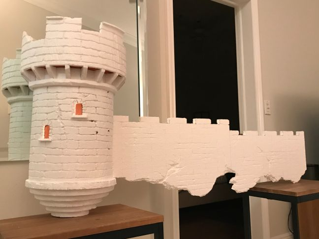 Foam Halloween Office Decoration DIY Castle and Wall Without Paint