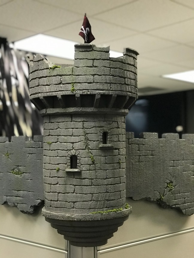 Foam Halloween Office Decoration DIY Castle and Wall Installed Closeup
