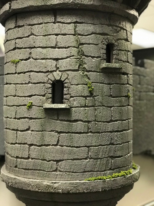 Foam Halloween Office Decoration DIY Castle and Wall Installed Closeup With Moss