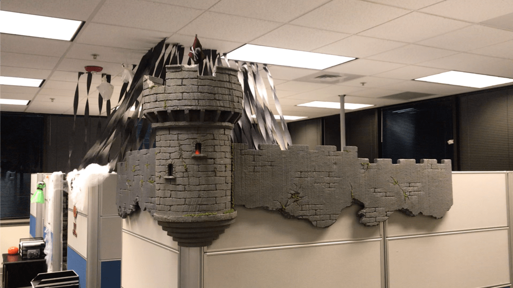 halloween office decoration final with flame