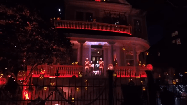 Ghost Manor Halloween Decorated House Show Yard Wide View