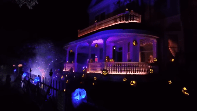 Ghost Manor Halloween Decorated House Show Opposite Street Angle View