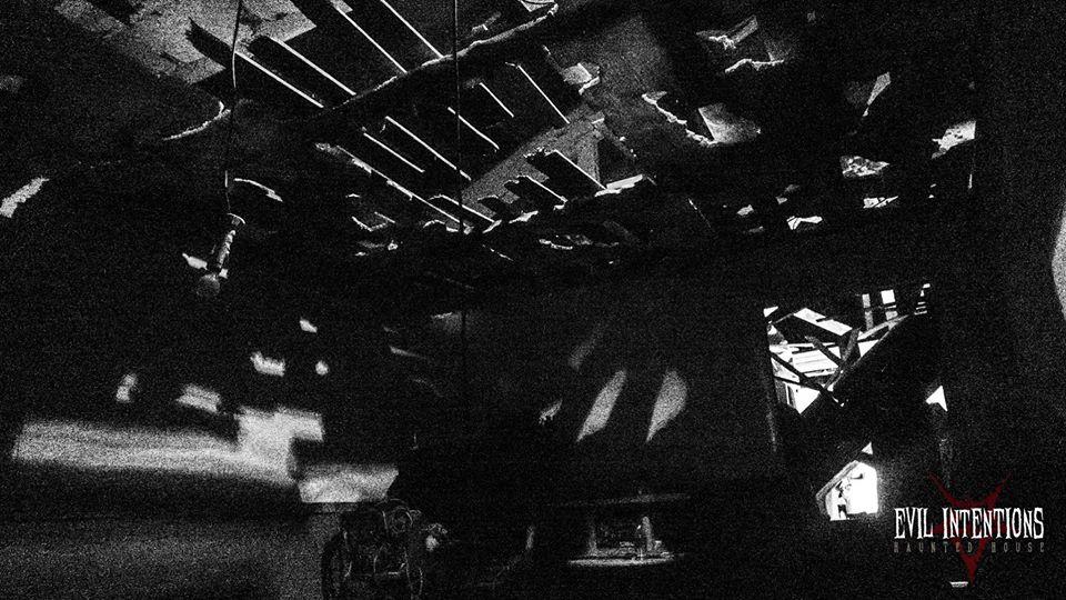 Evil Intentions Scariest Haunted House Illinois Dark Attic Scene