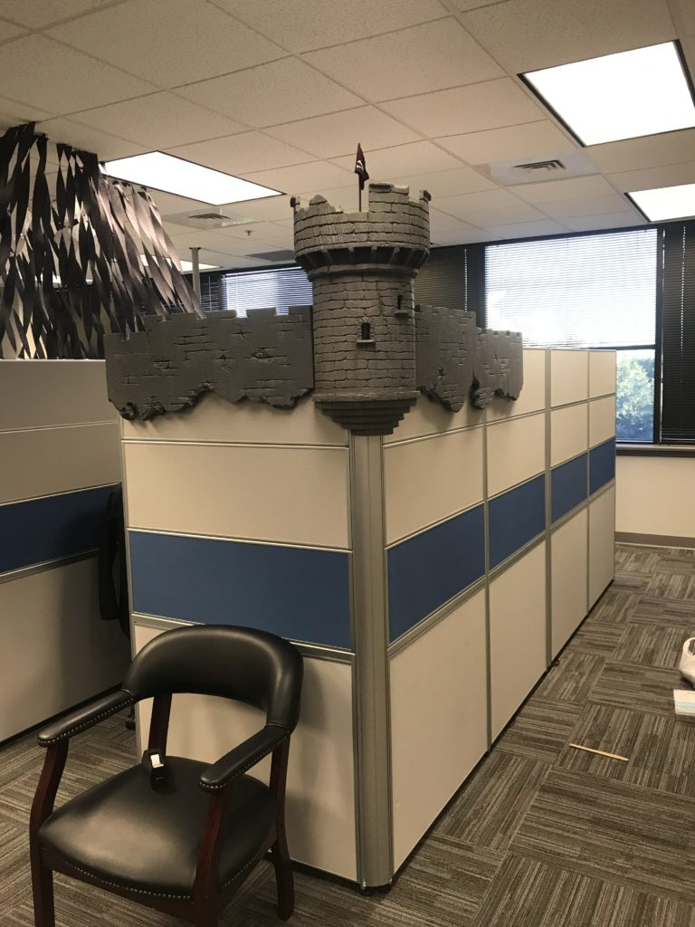 Foam Halloween Office Decoration DIY Castle and Wall Installed Without Lights