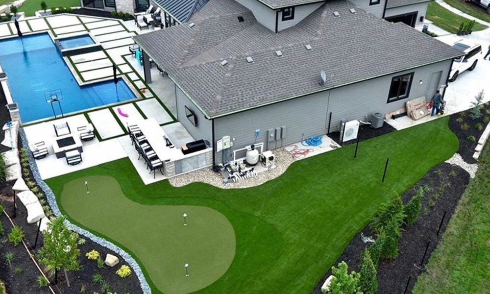 overhead view of backyard putting green