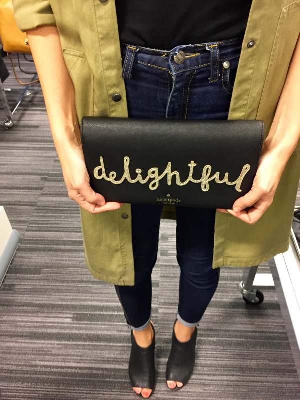 delightful kate spade clutch in black