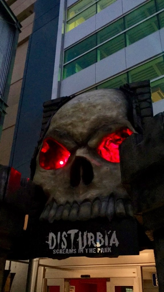 disturbia screams in the park skeleton entrance