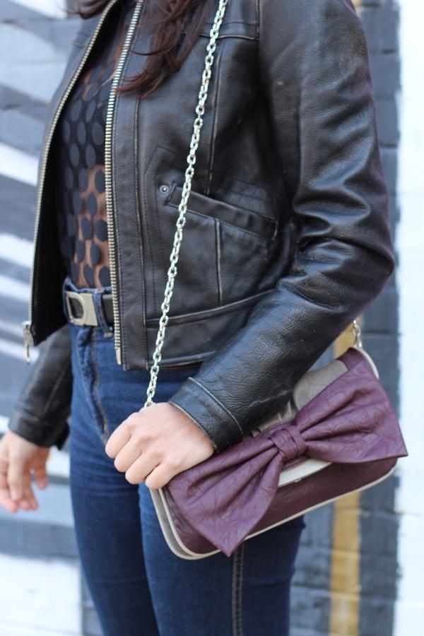purple bow handbag with chain