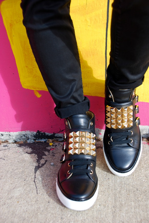 hermes black sneakers with gold studs