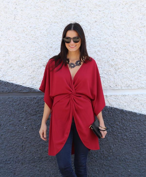 red dress top look