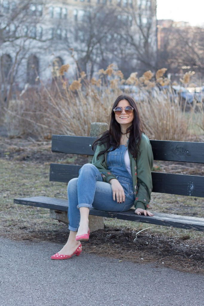relaxing on a park bench