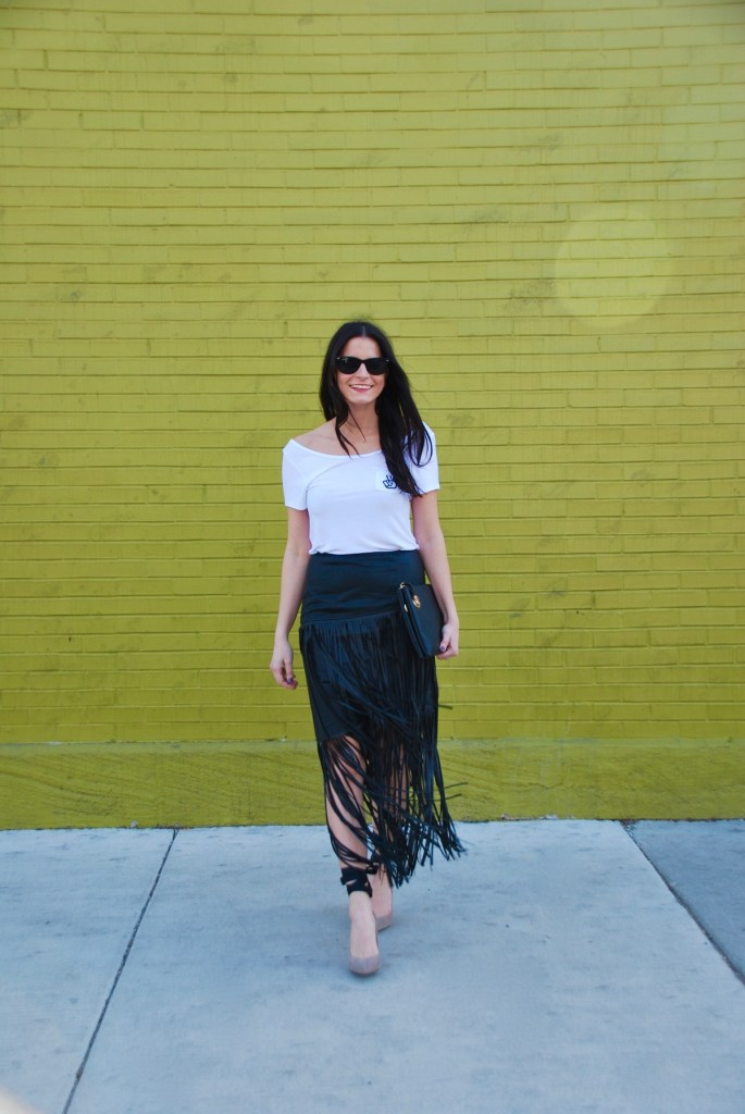 white and black fringe outfit