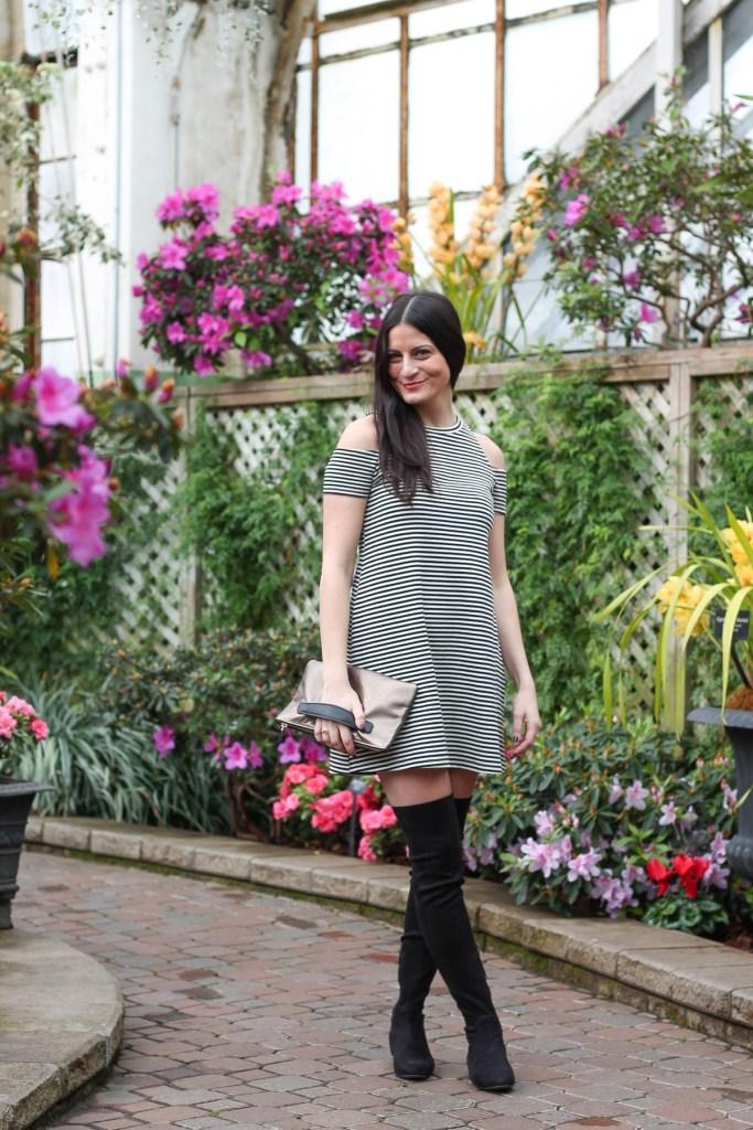 cold shoulder black and white stripe dress