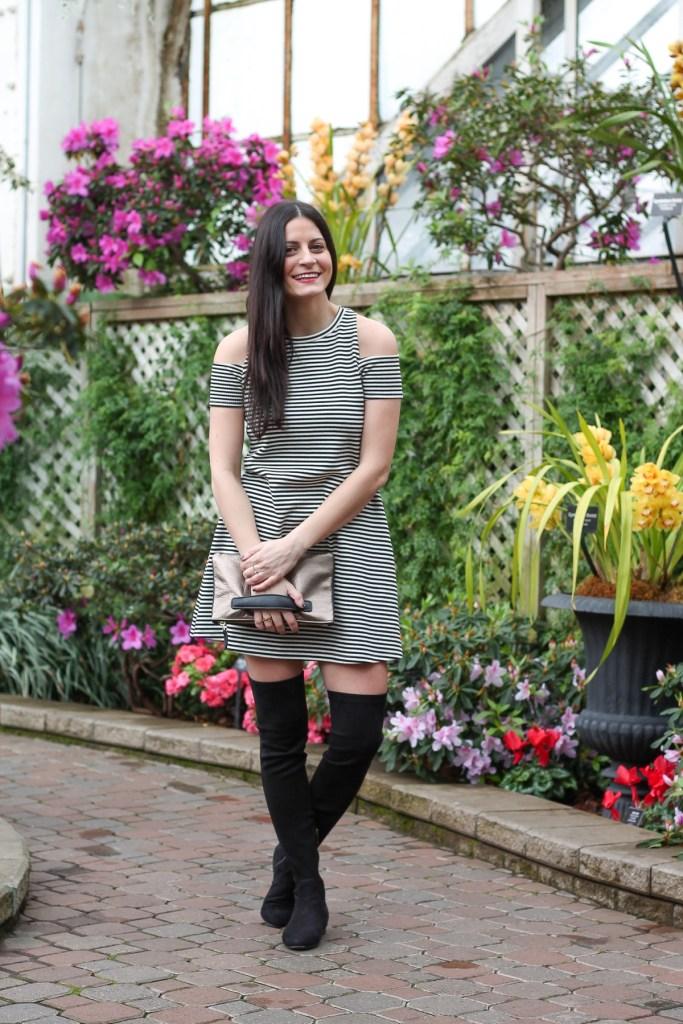 cold shoulder black and white stripe mini dress